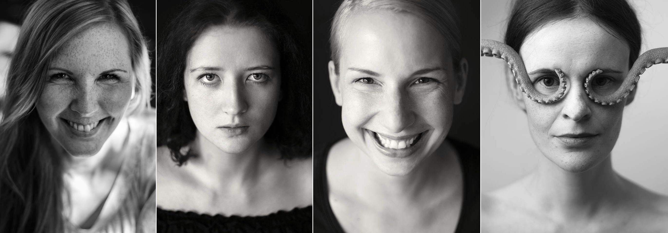 4 Fotos von Frauen unterschiedlichen Alters. Die Fotografien sind in schwarz-weiß. Die Portraitierten schauen direkt in die Kamera. Zwei Frauen lachen herzlich. Die anderen blicken eher ernst in die Kamera. Fotografiert von Astrid Schulz, Fotografin aus Bremen.